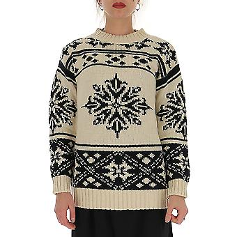 Semi-couture Y9ae31y690 Women's White/black Acrylic Sweater