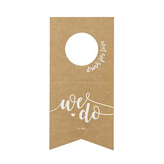 Vi gör Kraft Card Vin flaska galgar Bröllop Tabell Dekoration