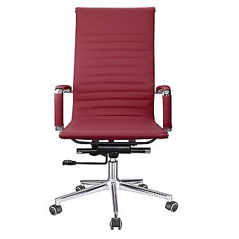 Yescom Executive High Back Ribbed PU Leather Swivel Office Computer Desk Chair Red XL