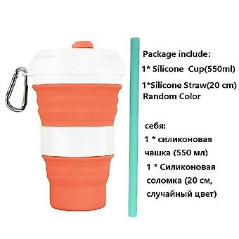 Collapsibl Silicone Coffee Cup with Straw Lid 550ml Folding Mug Leak Proof BPA
