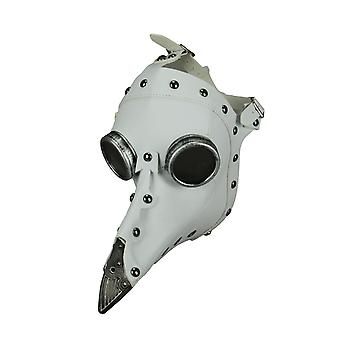 White Leather Studded Steampunk Plague Doctor Adult Halloween Costume Mask