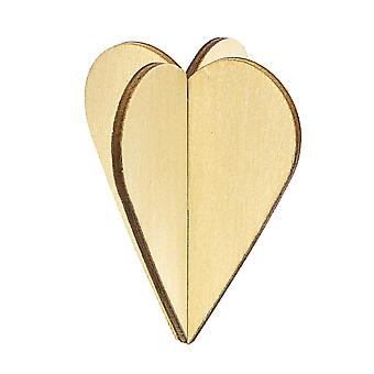 3 Natural Wooden Hanging 3D Hearts - Use Plain or Decorate