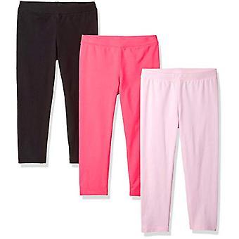 Essentials Big Girls' 3-Pack Capri Legging, Cherry Blossom/Raspberry S...