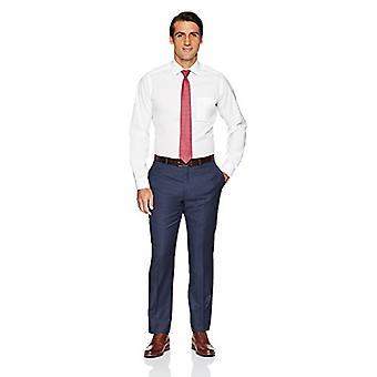 BUTTONED DOWN Men's Tailored Fit Stretch Poplin Non-Iron Dress Shirt, White, ...