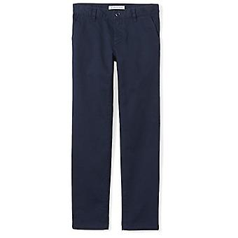 Essentials Little Girls' Flat Front Uniform Chino Pant, Marinha,6