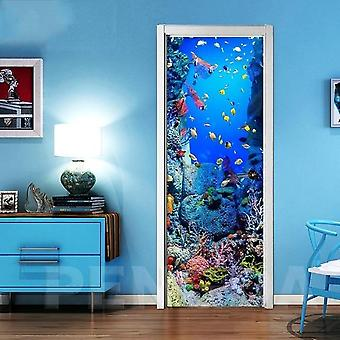 3d Self Adhesive Door Wall Art Decal On Fish Bottom World Sticker For Home Door Decoration