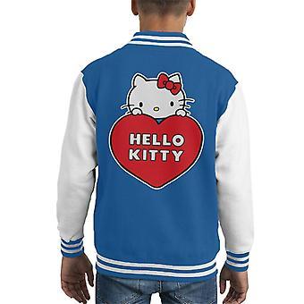 Hello Kitty Peeking Above Love Heart Kid's Varsity Jacket