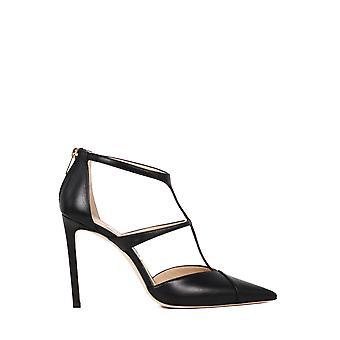 Jimmy Choo Saoni100kidblack Women's Black Leather Sandals