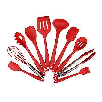 10 Conjuntos de vajilla de cocina de silicona doméstica Set Rojo