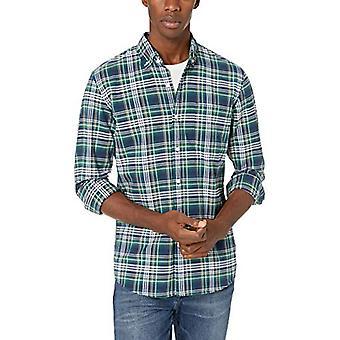 Merkki - Goodthreads Men's Standard-Fit Pitkähihainen Ruudullinen Oxford Shirt, Green Navy Multi, XXX-Large