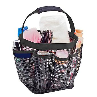 Portable Shower Caddy with 8 Mesh Storage Pockets Black