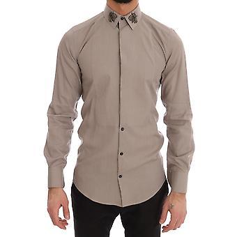 Dolce & Gabbana Beige Crystal Bee Gold Slim Fit Shirt TSH1810-1