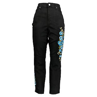 Martha Stewart Women's Regular Jeans Brodé Ankle Blue A309514