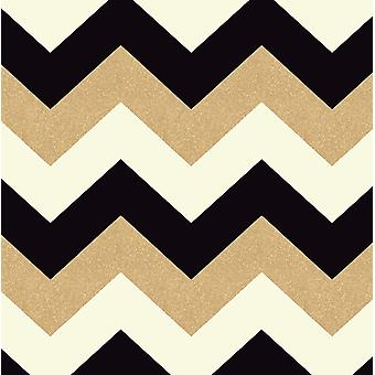 892300 - Glitterati Chevron Black & Gold  - Arthouse Wallpaper