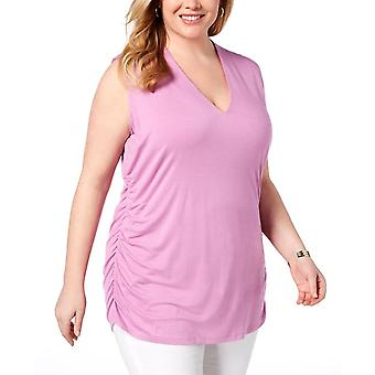 INC | Plus Size Ruched V-Neck Tank Top