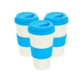 Reusable Coffee Cups - Bamboo Fibre Travel Mugs with Silicone Lid, Sleeve - 400ml (14oz) - Blue - Pack of 3