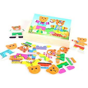 Wooden Box Puzzle Set - Educational, Little Bear Changing Clothes Toy