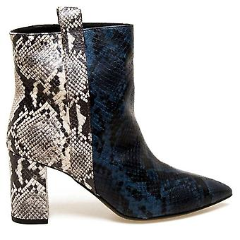 Janet & Janet Polly Blue Python Effect Ankle Boots