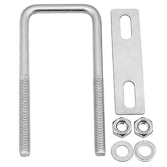 Silver 304 Stainless Steel Square U Bolts with Plate Nuts Set M8x45x120