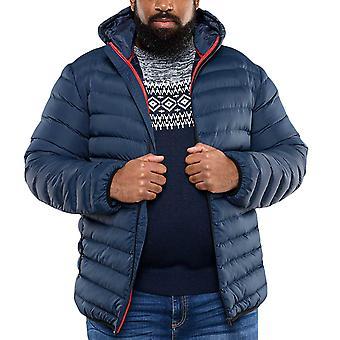 Duke D555 Mens Big Tall King Storlek Huntington Vadderad Hooded Coat Jacket - Marinen