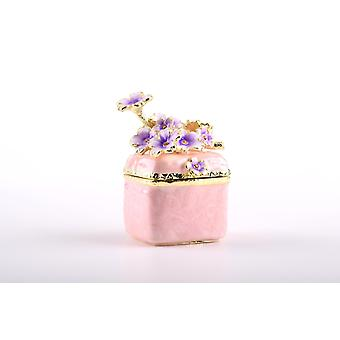 Pink Enamel Painted Trinket Box