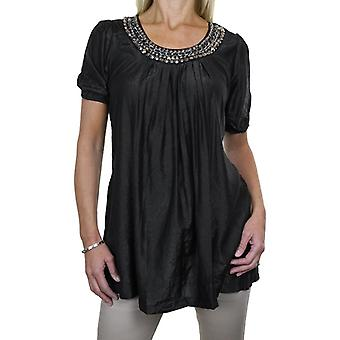 Women's Smart Casual Loose Tunic Top Ladies Evening Day Round Neck Short Sleeve Silver Bead Stud Detail Longline Blouse 8-16