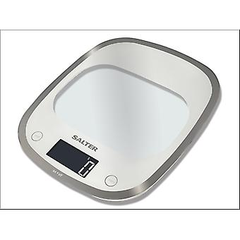 Salter Electrical Kitchen Scale Curve Glass White 1050WHDR