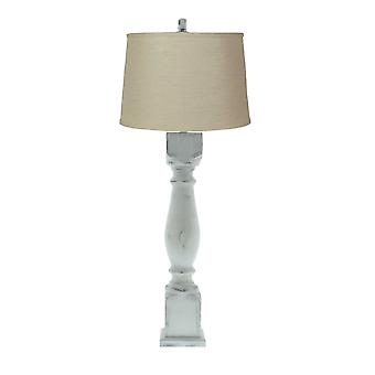 Distressed White Table Lamp with Linen Fabric Shade