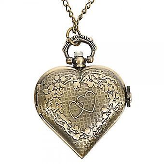 DEFFRUN Vintage Bronze Herz geformt Quarz Taschenuhr