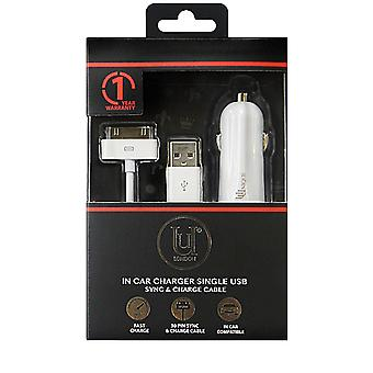 Car Charger Single USB 1 Amp, 30 pin Sync and Charge Cable