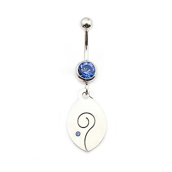 Belly button ring with spiral and cubic zirconia stone 14g