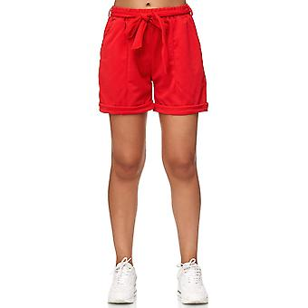 Ladie's Chiffon Shorts Cropped Summer Beach Bows Crepé Pants with Belt Stretch