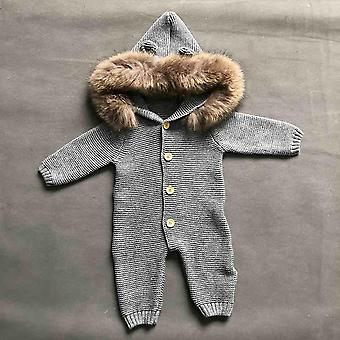 Baby Fur Collar Sweater, Cute Fur Jumper For Toddler Kid Jumpsuit