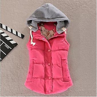 Women Vest Winter Coat  Ladies Gilet Colete Pocket Hooded Waistcoat Female