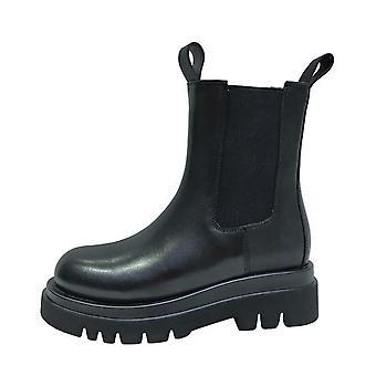 Aito nahka syksyn saappaat - muoti paksu pohja boot