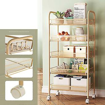 3/4/5 Tier Kitchen Trolley Cart & Dining Shelf, Rack Basket Storage Drawers +