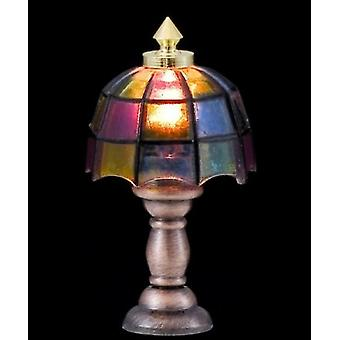 Dolls House Table Lamp Coloured Shade Half Inch 1:24 Scale Electric Lighting