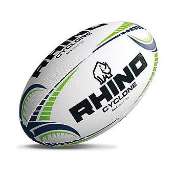 Rhino Cyclone Rugby League Union Training Ball White/Green/Blue