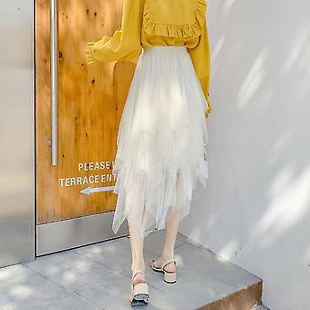 Irregular Tulle Skirt, Women Summer High Waist Petticoat, Casual
