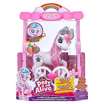 Zuru pets alive magical unicorn in stable battery-powered interactive robotic toy playset, pink