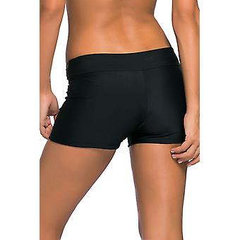 Womens Wide Waistband Swimsuit Bottom Shorts