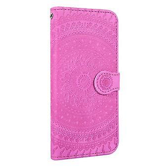 Samsung Galaxy J5 (2017) Flower Flip Case Cover - Dark Pink
