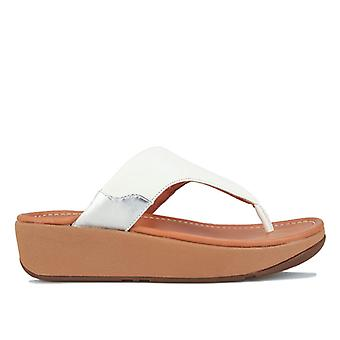Women's Fit Flop Myla Leather Toe Thong Sandals in White