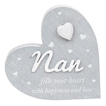 Joe Davies Cherished Hearts Cool Grey Standing Heart Ornament - Nan
