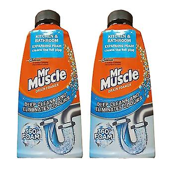 2 x 500ml Mr Muscle Drain Foamer All Pipes Hair Cleaner Unblocker Bathroom Kitchen