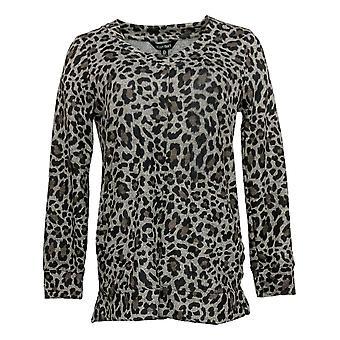 Ellen Tracy Women's Top Cozy V-Neck Tunic With Pockets Black