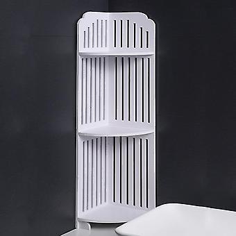 رف من الأرض إلى السقف من ثلاث طبقات للمراحيض المنزلية المثبتة على الأرض رف التخزين للحمام