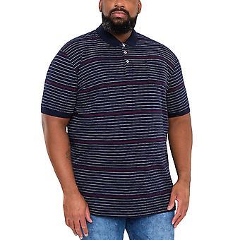 Duke D555 Mens Metro Big Tall King Size Striped Polo Shirt T-Shirt Top - Blue