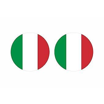 2x stick klistermärke rund cocarde italiensk italiensk flagga