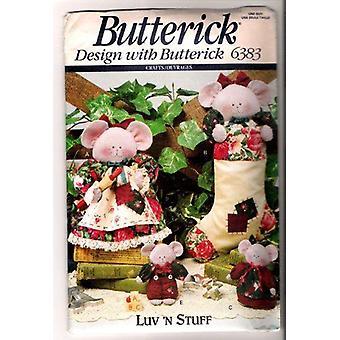 Butterick ompelu kuviot 6383 Luv 'N Stuff Merry Hiiret Peittely sukka koristeet